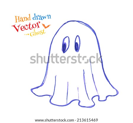 Felt pen childlike drawing of cute ghost. Vector illustration. isolated. - stock vector