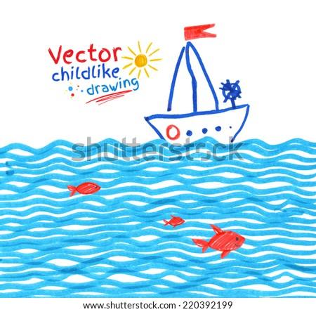 Felt pen childlike drawing of seaside. Vector illustration. - stock vector