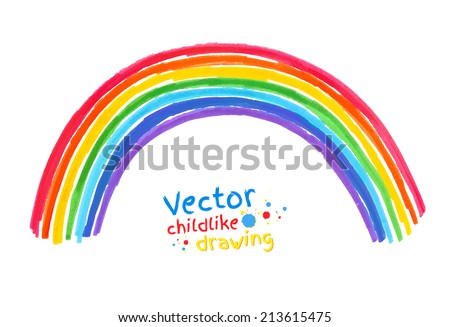 Felt pen childlike drawing of . Vector illustration. isolated. - stock vector