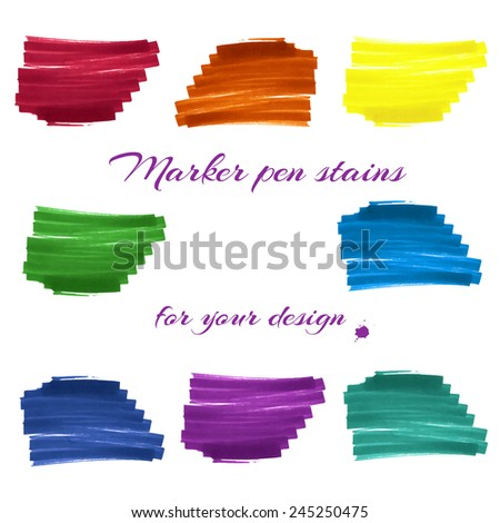 Felt-tip marker stains rainbow colors isolated on white background for design labels, banners, covers, backgrounds and others. Vector. - stock vector