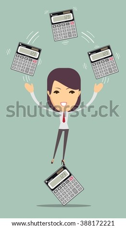 Female accountant manages money and leads them count on a calculator, vector illustration - stock vector