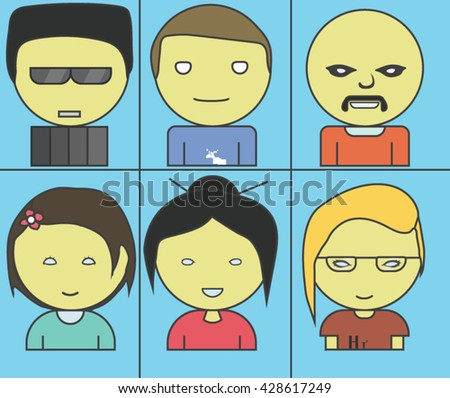 Female and male funny characters. Set Of 6.