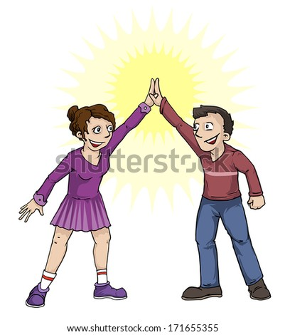 Female and male high five each other, vector illustration - stock vector
