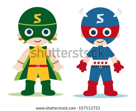 female and male superheroes kids character - stock vector