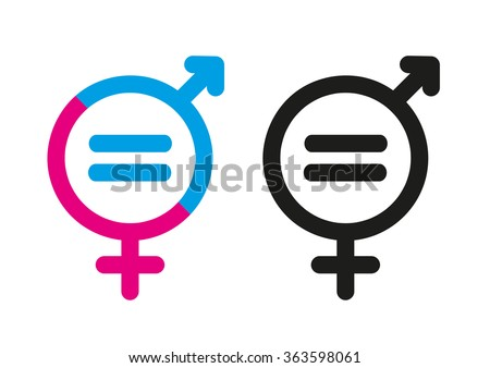 Female and Male Symbols with Mathematical Equal Sign. Editable Clip Art.  - stock vector