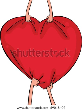 Female and man's hands with heart - stock vector