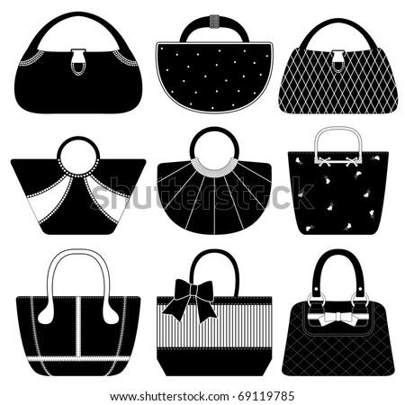 Female Bag Handbag Purse Fashion Woman - stock vector