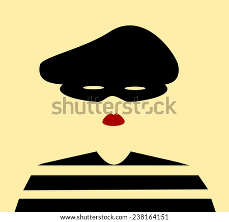 female bank robber wearing mask and hat - stock vector