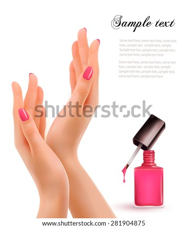 Female beautiful hands with a pink nail polish bottle. Vector. - stock vector