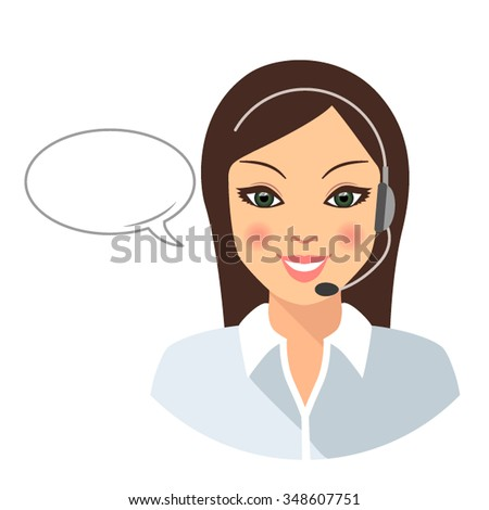 Female Call center operator wearing a headset. The apartment is in a modern style isolated on white background - stock vector