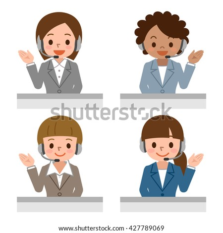 Female call centre operator with headset - stock vector