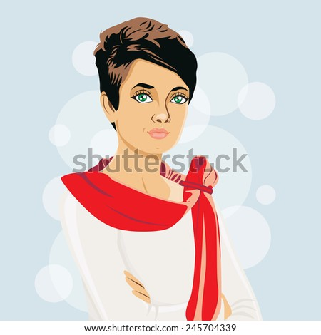 Female character. Vector illyustratsiya.Ikonka card. - stock vector