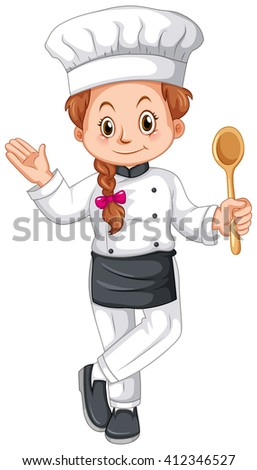 Female Chef In Uniform Illustration