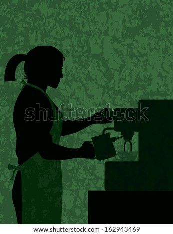 Female Coffee Barista Silhouette Making Espresso and Steaming Milk with Espresso Machine on Green Textured Background Vector Illustration - stock vector