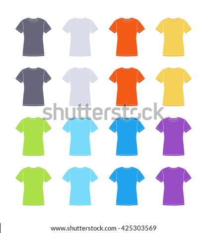 Female colored short sleeve t-shirts templates collection. Front and back views. Vector flat illustrations