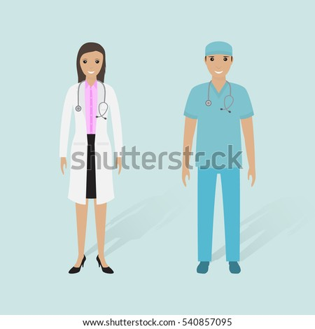 Female doctor and male nurse with shadows. Hospital staff. Medical people. Flat style vector