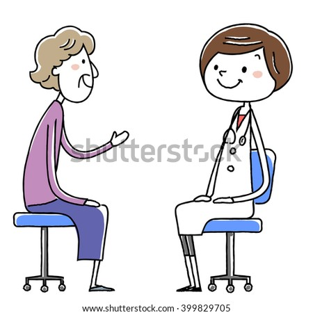 female doctor and patient. Old woman. vector illustration.
