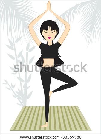 female doing yoga under sky, vector wallpaper - stock vector