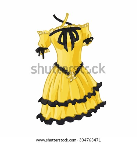 female dress in wedding party girl cartoon style. Cartoon Fashion vector illustration - stock vector