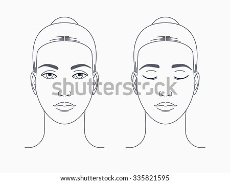 Female face drawing. Lovely vector woman face linear illustration ...