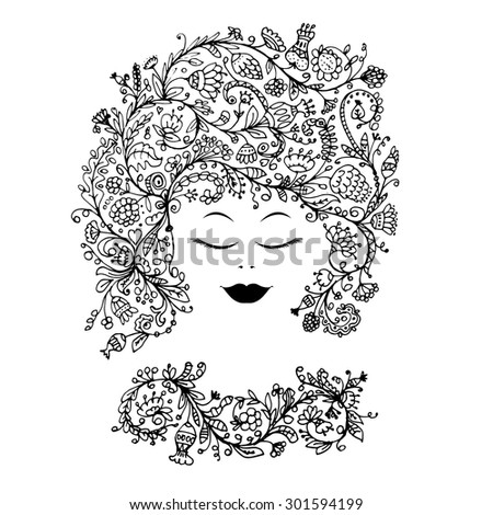 Female face with floral hairstyle for your design. Vector illustration - stock vector