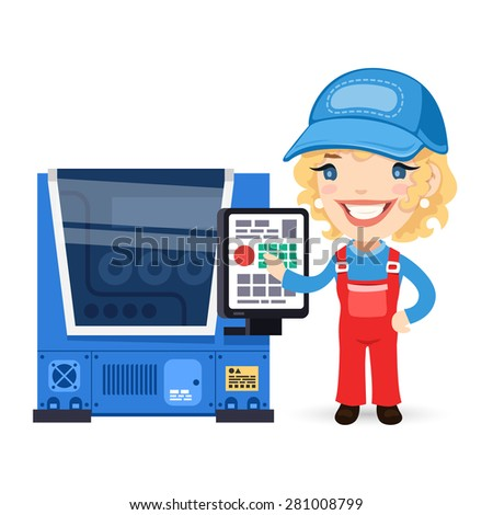 Female Factory Worker is Setting Up CNC Machine. Isolated on white background. - stock vector