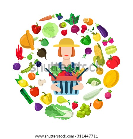 Female farmer farm market shop seller with full harvest box. Stylish quality detail flat icon set farm fruit vegetable berry mushroom plants. Agriculture concept. Food farming collection. - stock vector