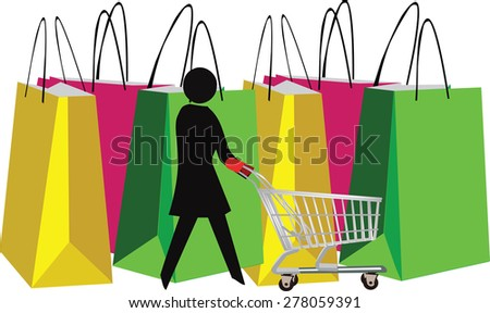 female figure with shopping cart and bags - stock vector