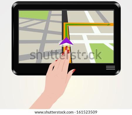 Female finger typing on gps  - stock vector