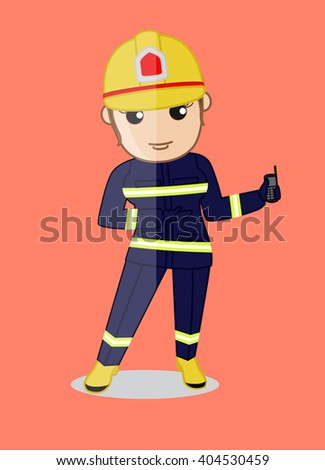 Female Firefighter Character Showing a Mobile for Emergency Contact