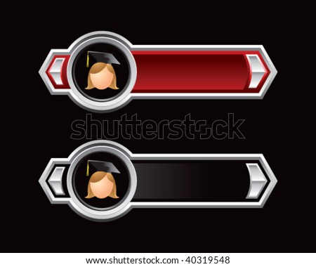 female graduate on red and black arrows