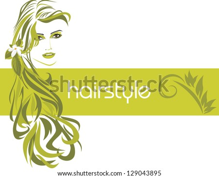 Female hairstyle. Decorative banner. Vector - stock vector