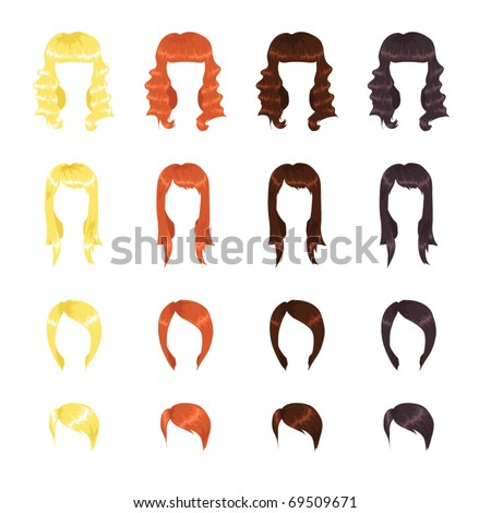 Female hairstyles assortment - stock vector
