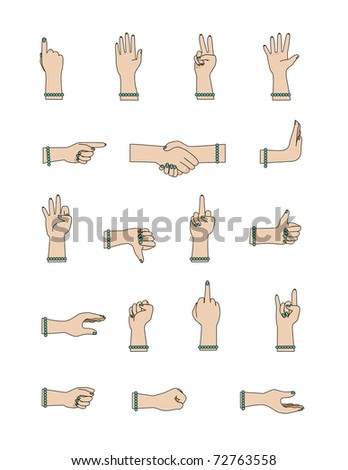 Female Hand Gesture Icons - stock vector