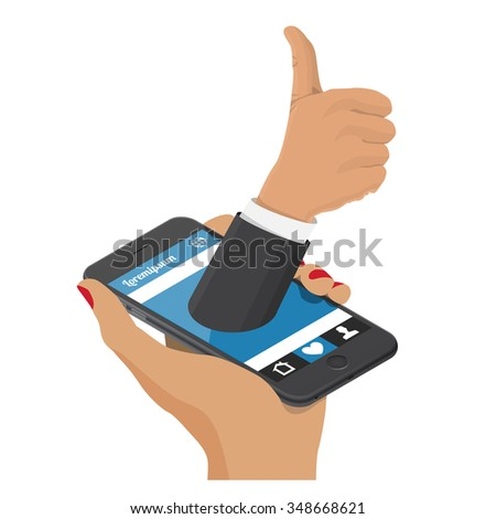Female hand holding a smartphone screen hand with a raised thumb. Optimistic background for your message. Social network concept, like isometric design. - stock vector