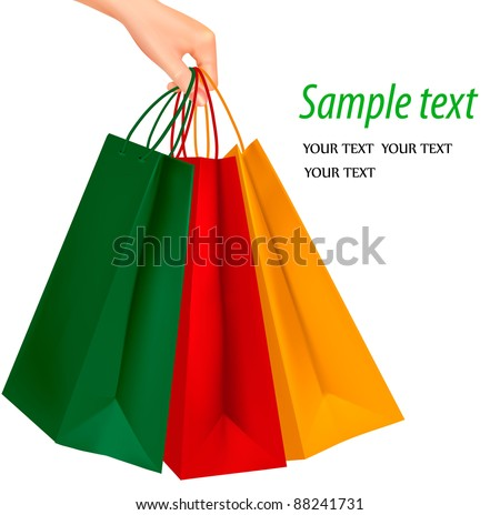 Female hand holding colorful shopping bags. Vector illustration. - stock vector