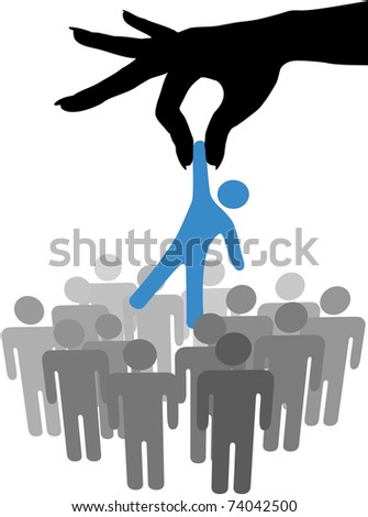 Female hand to reach find and choose a person from a group of symbol people - stock vector