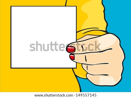 Female hand with a sheet of paper - stock vector