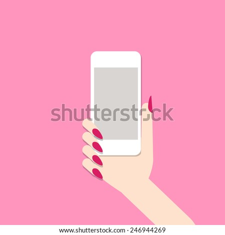 Female hand with mobile phone. Vector illustration - stock vector