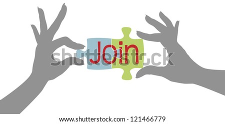 Female hands connect jigsaw puzzle pieces to join organization - stock vector