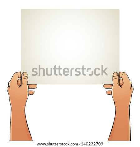 Female hands holding blank paper sheet, it is a place for your text or picture. - stock vector