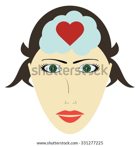 Female head and heart, head of a woman thinks about love - stock vector