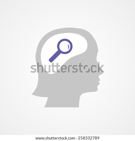 Female head and magnifying glass - stock vector
