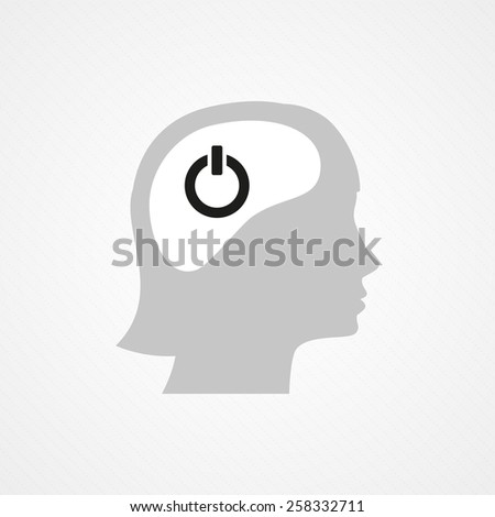 Female head and on/off icon - stock vector