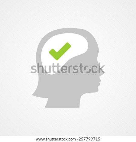 Female head and right check mark - stock vector