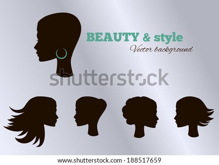 Female heads with beautiful hair. Vector set. - stock vector