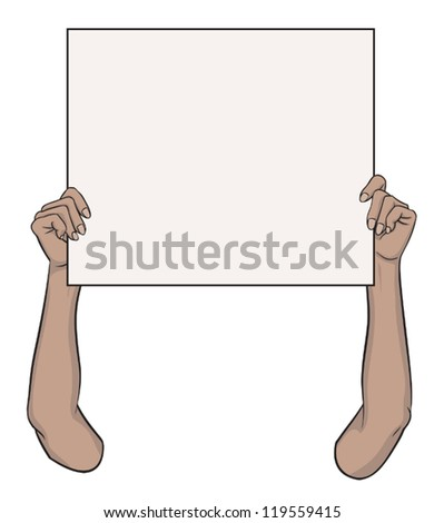 Female Holding Up a Sign up - stock vector