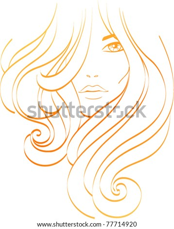 Female icon. Beautiful girl with long orange hair. Hairs icon - stock vector