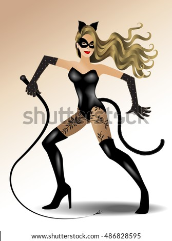 female in catwoman costume using a whip