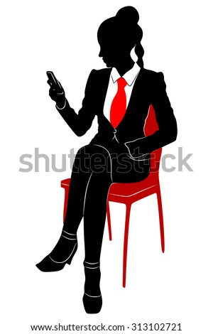 female lawyer looking at mobile smartphone - stock vector